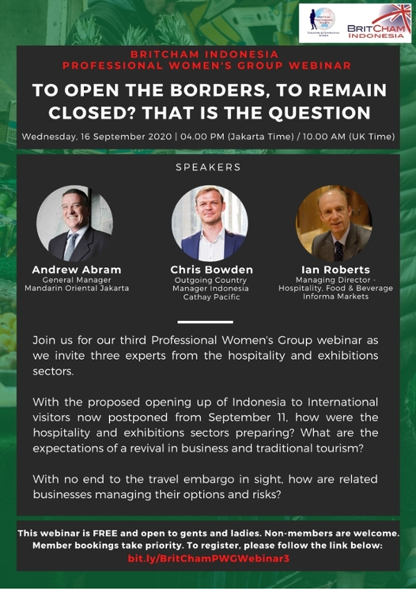 The 3rd BritCham Professional Women's Group Webinar: To Open the Borders, to Remain Closed ? That is the Question