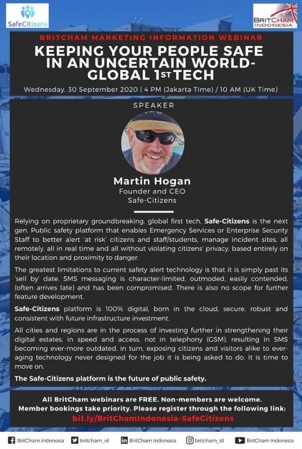 BritCham Marketing Information Webinar: Keeping Your People Safe in an Uncertain World - Global 1st Tech