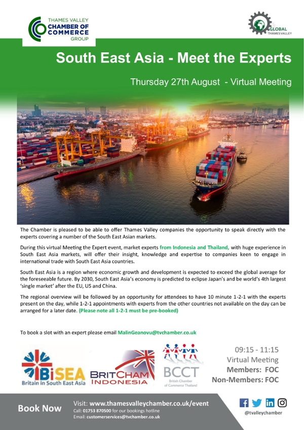 South East Asia - Meet the Experts (virtual BiSEA roadshow with BritCham Indonesia and BritCham Thailand in collaboration with Thames Valley Chamber of Commerce Group)