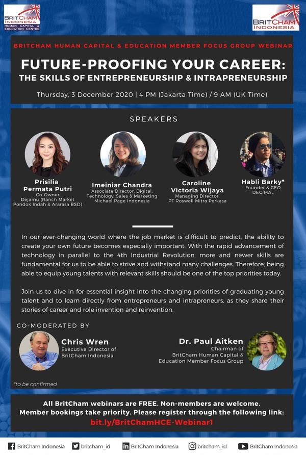 BritCham Human Capital and Education Member Focus Group Webinar Future Proofing Your Career: The Skills of Entrepreneurship & Intrapreneurship