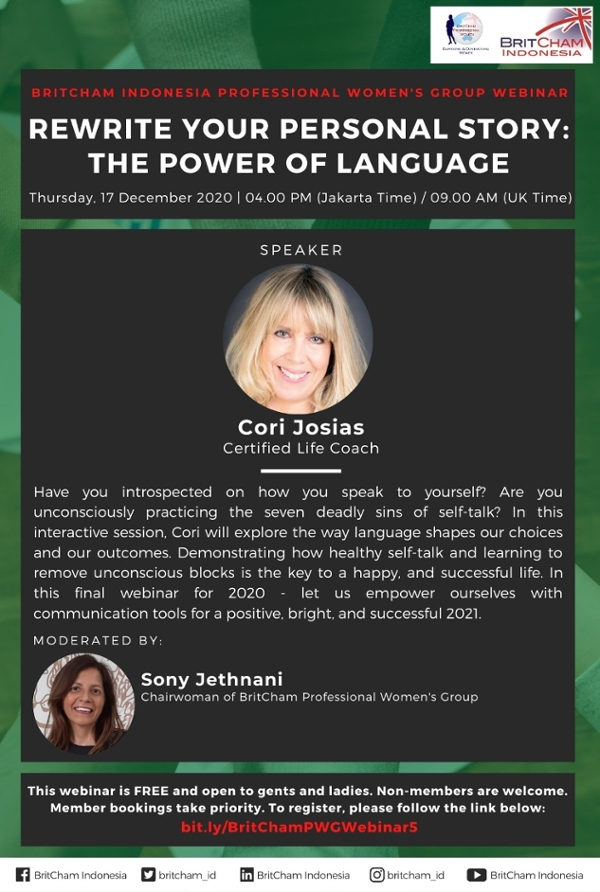 BritCham Professional Women's Group Webinar: Rewrite Your Personal Story - The Power of Language