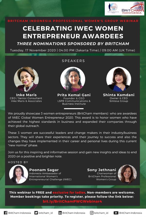 BritCham Professional Women's Group: Celebrating IWEC Women Entrepreneur Awardees