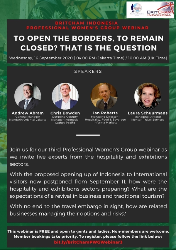 The 3rd BritCham Professional Women's Group Webinar: To Open the Borders, to Remain Closed? That is the Question