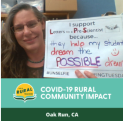 Michele Zollars, Oak Run, CA Penpals Engage with Letters to a Pre-Scientist during COVID Closures